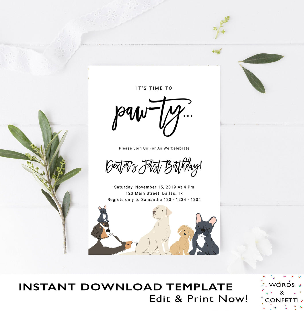 It's Time To Pawty, Dog Birthday Invitation, Dog Birthday Party, Puppy Birthday Party Invites, Editable Instant Download Printable, Custom