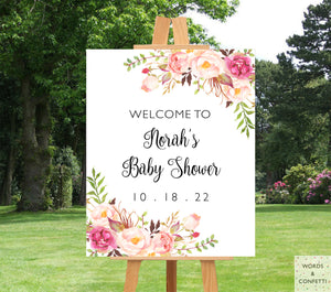 Boho Chic Baby Shower Welcome Sign