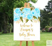 Load image into Gallery viewer, blue-and-gold-baby-shower-decorations-for-boys-words-and-confetti