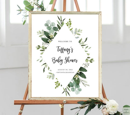 eucalyptus-baby-shower-welcome-sign-greenery-words-and-confetti