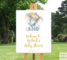 Load image into Gallery viewer, elephant-baby-shower-decorations-welcome-board-words-and-confetti