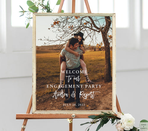 engagement-party-welcome-sign-with-photo-words-and-confetti