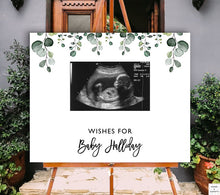 Load image into Gallery viewer, eucalyptus-baby-shower-guest-book-sonogram-words-and-confetti