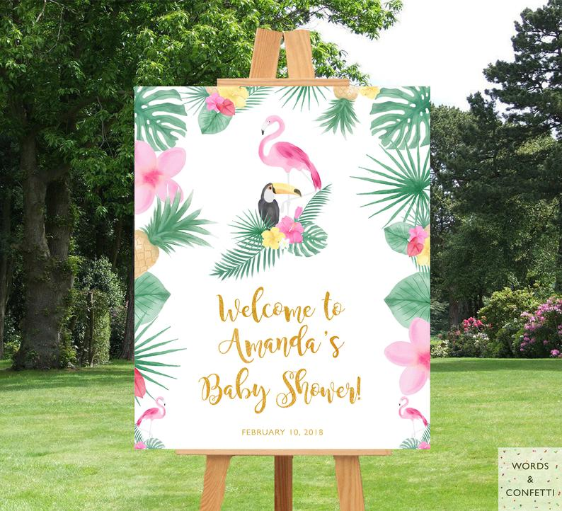Flamingo Baby Shower Welcome Sign