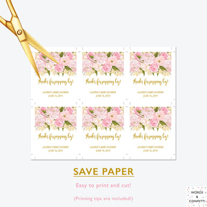 Pink & Gold Tags For Baby Shower, 100% Editable