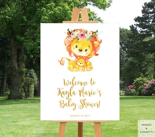 lion-baby-shower-decorations-welcome-words-confetti