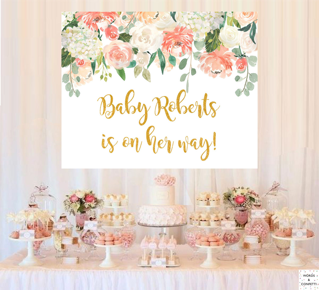 peach-baby-shower-backdrop-sign-cake-table-wordsandconfetti