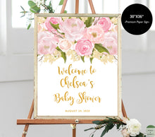 Load image into Gallery viewer, pink-and-gold-baby-shower-decorations-words-and-confetti