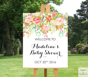 Blush Coral Baby Shower Welcome Sign