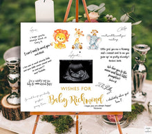Load image into Gallery viewer, safari-baby-shower-guest-book-sign-words-and-confetti