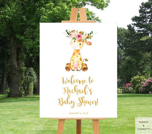 Giraffe Safari Baby Shower Welcome Sign