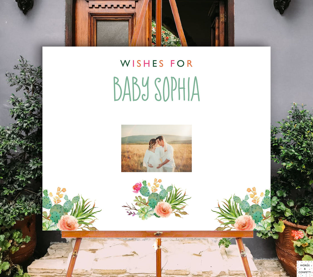 Succulent Baby Shower Guest Book Sign