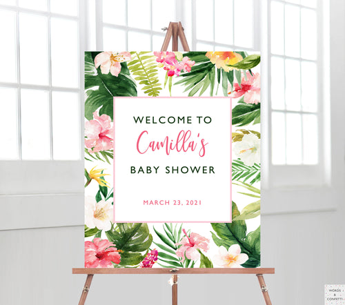 tropical-flowers-baby-shower-decorations