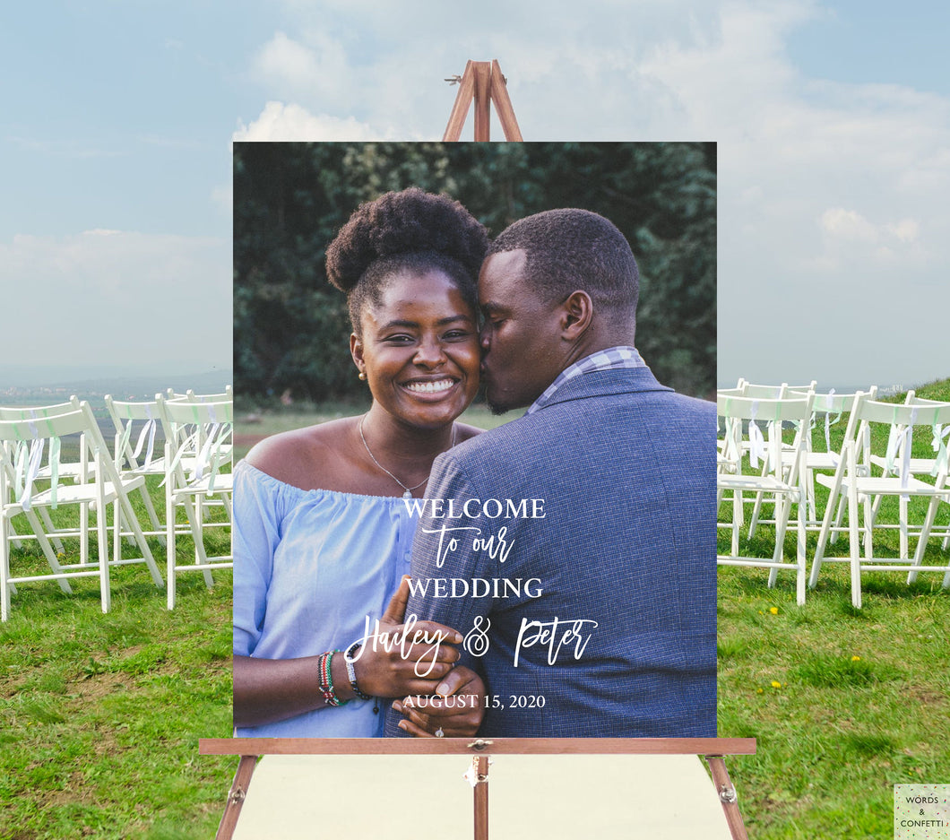 wedding-welcome-sign-with-photo-wordsandconfetti