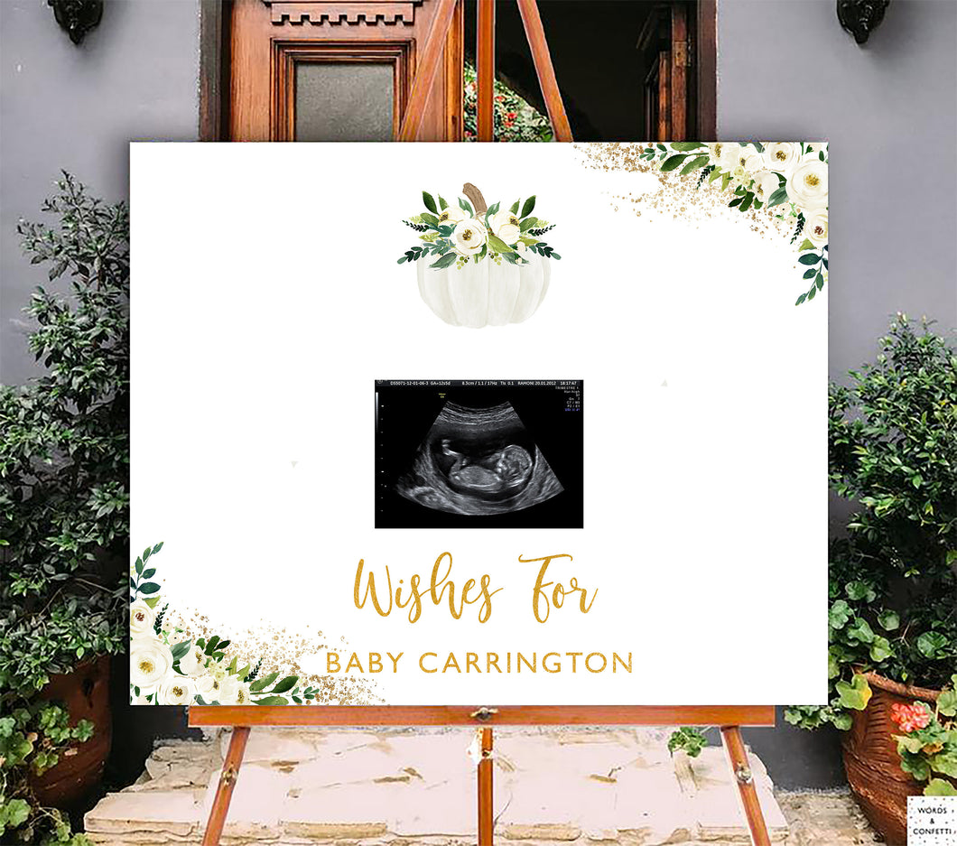 white-and-gold-pumpkin-baby-shower-decorations-wordsandconfetti