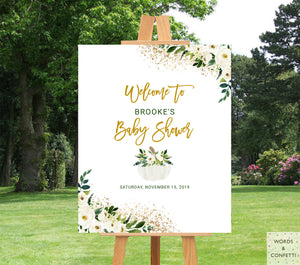 White & Gold Pumpkin Baby Shower Welcome Sign