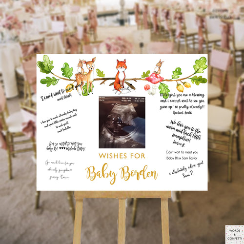 woodland-baby-shower-decorations-words-and-confetti-guest-book-sign