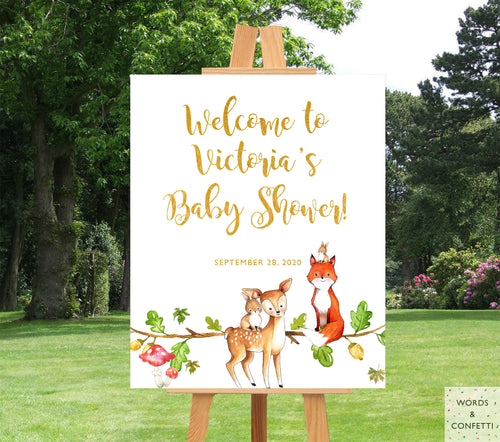 woodland-baby-shower-decorations-words-and-confetti