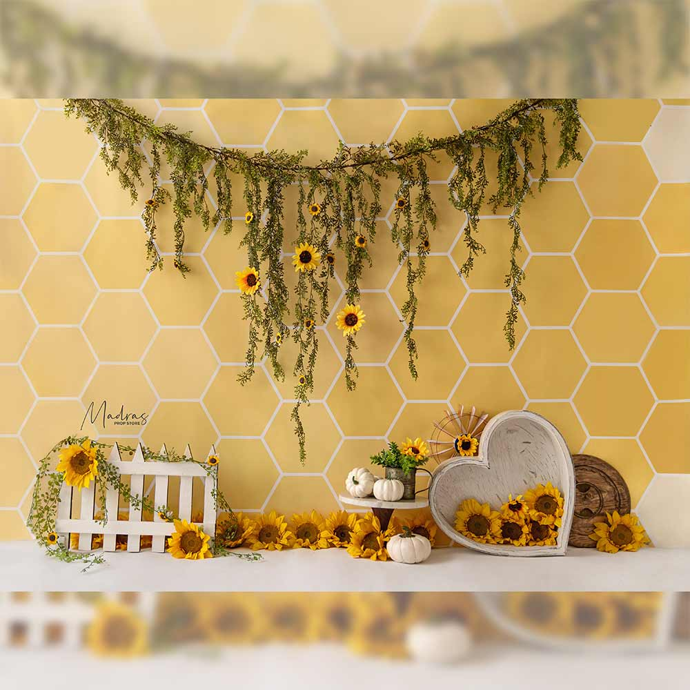 Buzzy Sunflowers - Printed Backdrop - 5 by 6 feet
