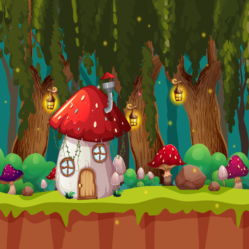 Mushroom fairy house - Baby Printed Backdrops