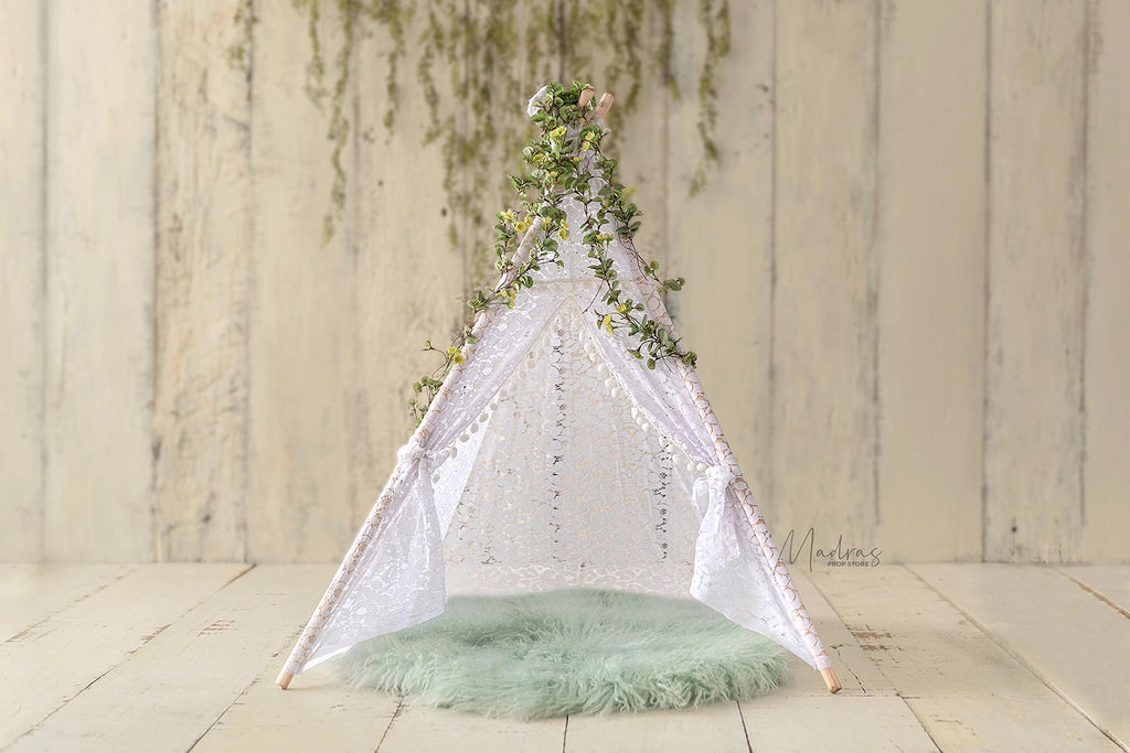 White Lace Pompom Teepee Tent