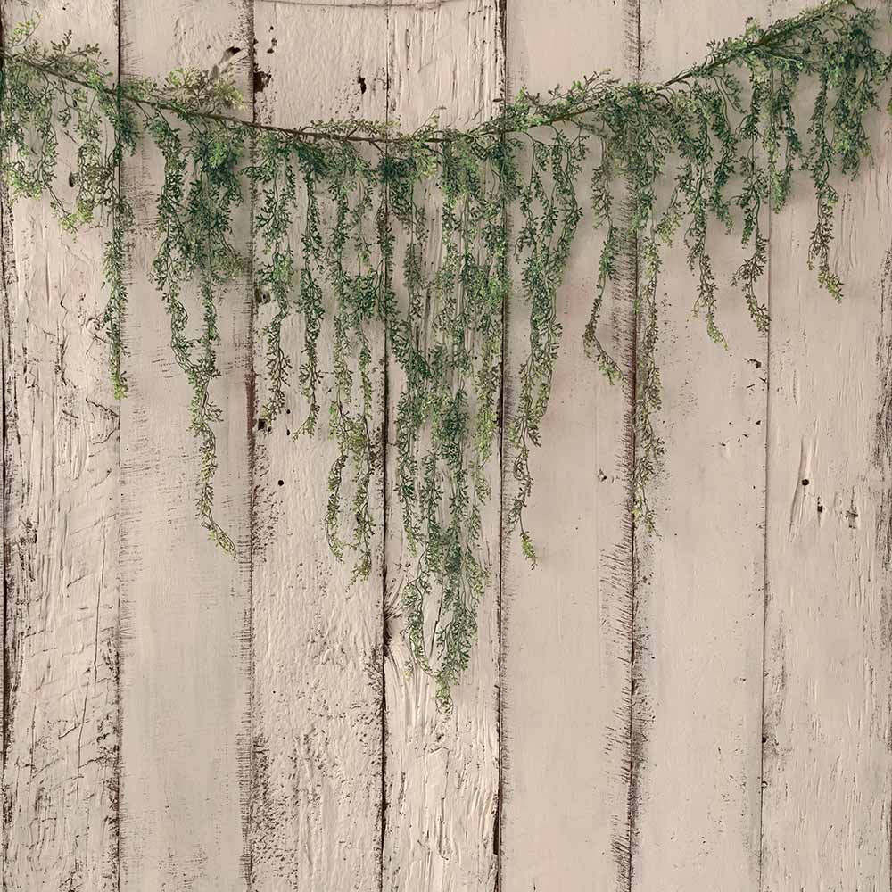 Vintage Cream Wood With Garland - Printed Backdrop - 5 by 6 feet