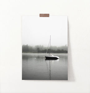 Foggy Forest Lake Sailing Photo Print