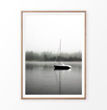 Load image into Gallery viewer, Foggy Forest Lake Sailing Photo Print