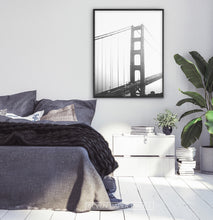 Load image into Gallery viewer, San Francisco Golden Gate Bridge Wall Art in Black and White