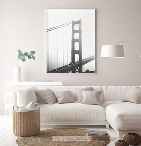 San Francisco Golden Gate Bridge Wall Art in Black and White