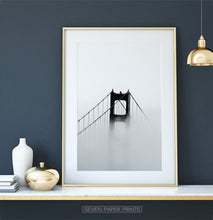 Load image into Gallery viewer, Foggy Golden Gate Bridge Tower Photography Monochrome