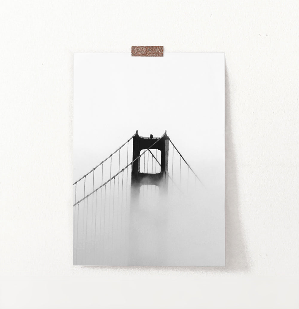 Foggy Golden Gate Bridge Tower Photography Monochrome