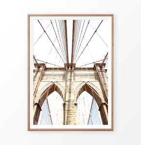 Brooklyn Bridge In Between Cables Net Photography Print