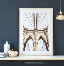 Load image into Gallery viewer, Brooklyn Bridge In Between Cables Net Photography Print