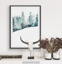 Load image into Gallery viewer, Black-framed With Bull Skull and some dried plants