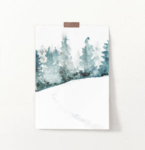 Snowy Hill Traces In Forest Watercolor Wall Decor