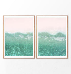 Aerial Beach and Turquoise Ocean Photography Set of 2 Prints