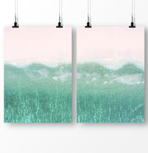Load image into Gallery viewer, Coastal Decor, Turquoise Wave Print, Set of 2 Prints, Ocean Beach Poster, Pink Beach Wall Art, Blue Ocean Print Diptych