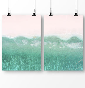 Coastal Decor, Turquoise Wave Print, Set of 2 Prints, Ocean Beach Poster, Pink Beach Wall Art, Blue Ocean Print Diptych