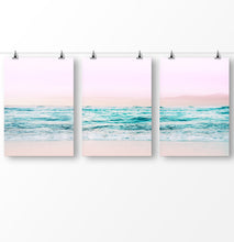 Load image into Gallery viewer, Blue water artwork, pink wall art, ocean waves, ocean photography, Pink beach triptych