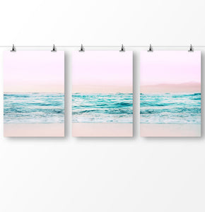 Blue water artwork, pink wall art, ocean waves, ocean photography, Pink beach triptych