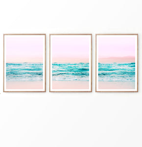 Pink Sunset on Turquoise Waves Beach Photo Set of 3
