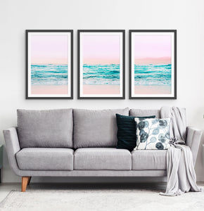 Three photo prints of an azure ocean 2