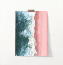 Load image into Gallery viewer, Turquoise Wave Print with Pink Beach Aerial photography