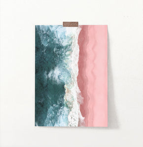 Turquoise Wave Print with Pink Beach Aerial photography