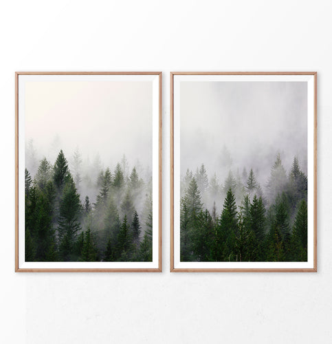 Green Misty Forest 2 Piece Wall Art