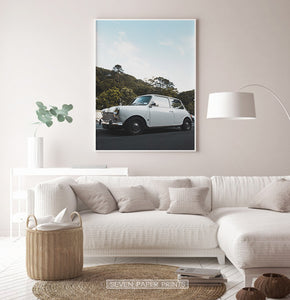 White Vintage Car Travel Wall Art
