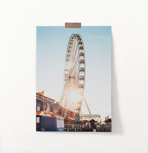 Color Ferris Wheel Print, Ferris Wheel with Sunset