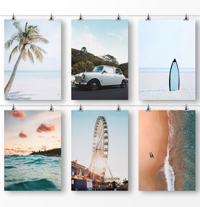 Coastal art home decor, 6 piece wall art, set of 6 beach prints