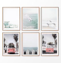 Load image into Gallery viewer, California Travel Wall Art Set. Lifeguard Tower, Surfers on a Wave, Seagulls, VW bus, cabins